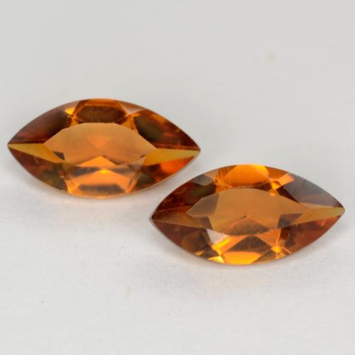 Deep Orange Citrine Gem - 0.5ct Marquise Facet (ID: 541080)