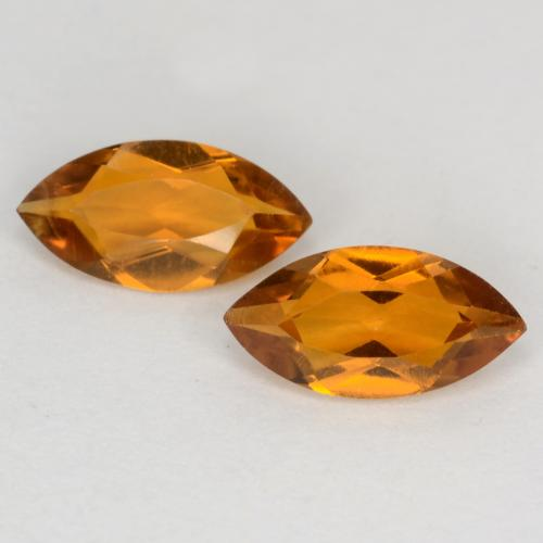 Orange Brown Citrine Gem - 0.5ct Marquise Facet (ID: 541238)