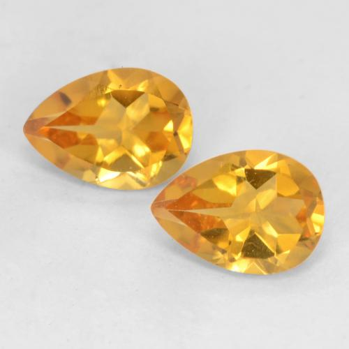 Dark Golden Citrine Gem - 0.7ct Pear Facet (ID: 542108)