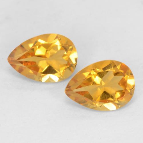 Dark Golden Citrine Gem - 0.7ct Pear Facet (ID: 542115)