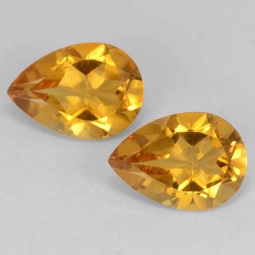 Deep Orange-Gold Citrine Gem - 0.6ct Pear Facet (ID: 542570)