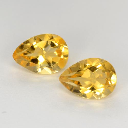 Deep Golden Orange Citrina Gema - 0.7ct Corte en forma de pera (ID: 544407)