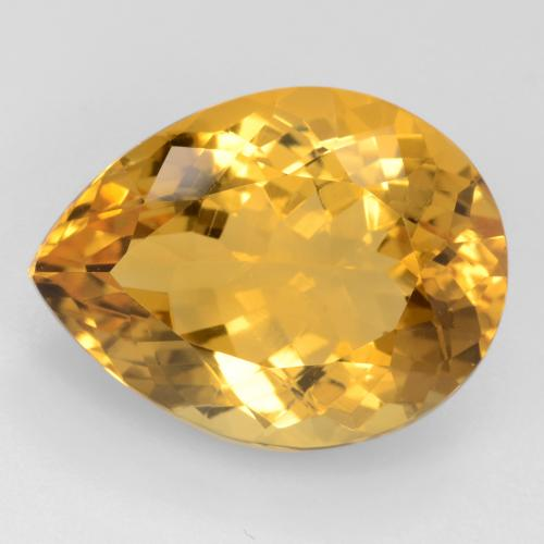 Deep Golden Orange Citrina Gema - 15.9ct Corte en forma de pera (ID: 544575)