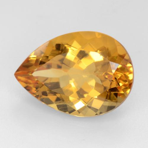 Orange-Gold Citrina Gema - 10.8ct Corte en forma de pera (ID: 544580)
