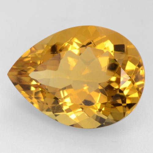Medium Orange-Gold Citrina Gema - 15.1ct Corte en forma de pera (ID: 544581)