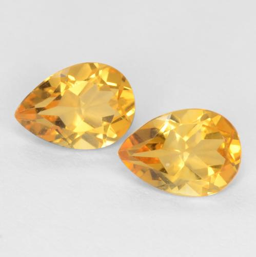 Deep Golden Orange Citrina Gema - 0.6ct Corte en forma de pera (ID: 546346)