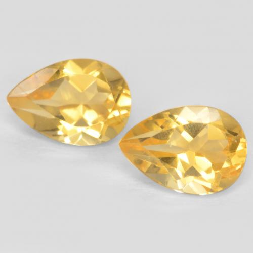 Medium Gold Citrine Gem - 0.7ct Pear Facet (ID: 546744)