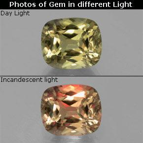 Brownish Yellow Color-Change Diaspore Gem - 6.7ct Cushion-Cut (ID: 381560)