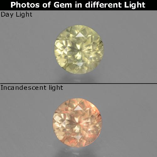 Green to Pink Color-Change Diaspore Gem - 0.7ct Round Facet (ID: 388201)