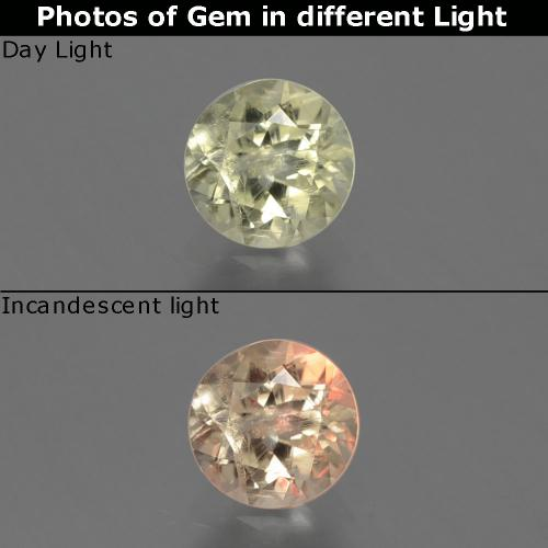 Green to Pink Color-Change Diaspore Gem - 0.8ct Round Facet (ID: 388207)
