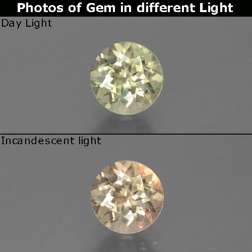 Green to Pink Color-Change Diaspore Gem - 0.6ct Round Facet (ID: 388250)