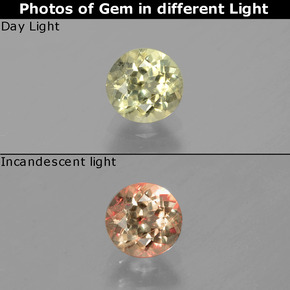 Green to Pink Color-Change Diaspore Gem - 0.7ct Round Facet (ID: 388336)