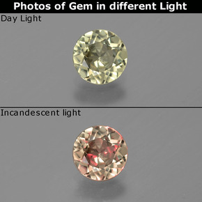 Green to Pink Color-Change Diaspore Gem - 0.6ct Round Facet (ID: 388339)
