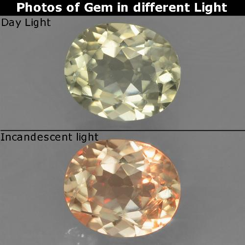Yellow Beige Color-Change Diaspore Gem - 0.9ct Oval Facet (ID: 388550)