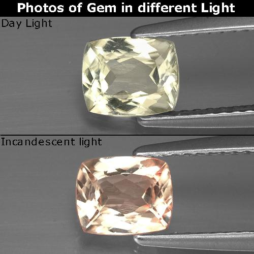 Green to Pink Color-Change Diaspore Gem - 0.9ct Cushion-Cut (ID: 388551)
