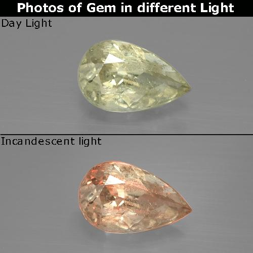 Green to Pink Color-Change Diaspore Gem - 1.2ct Pear Facet (ID: 388640)