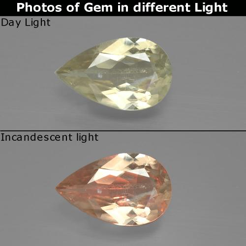 Green to Pink Color-Change Diaspore Gem - 1.2ct Pear Facet (ID: 388641)