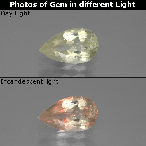 Green to Pink Color-Change Diaspore Gem - 1.3ct Pear Facet (ID: 388702)
