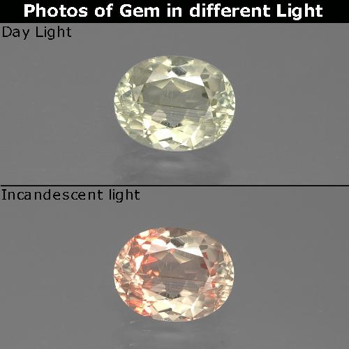 Green to Pink Color-Change Diaspore Gem - 1.1ct Oval Facet (ID: 388703)