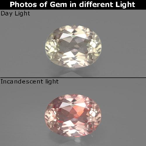 Green to Pink Color-Change Diaspore Gem - 1ct Oval Facet (ID: 388707)