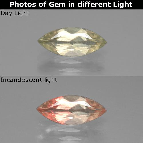 Very Light Yellow Color-Change Diaspore Gem - 1.1ct Marquise Facet (ID: 388760)