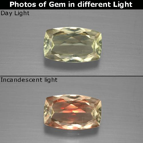 Green to Pink Color-Change Diaspore Gem - 1.3ct Cushion-Cut (ID: 388790)