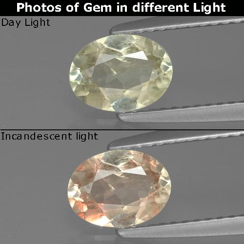 Green to Pink Color-Change Diaspore Gem - 1ct Oval Facet (ID: 388901)