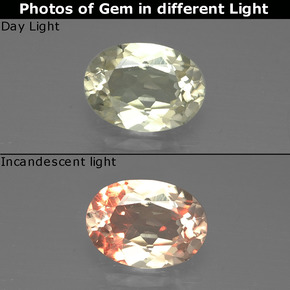 Very Light Yellow Color-Change Diaspore Gem - 1ct Oval Facet (ID: 388902)