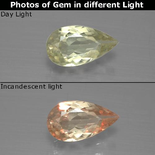 Green to Pink Color-Change Diaspore Gem - 1ct Pear Facet (ID: 388904)