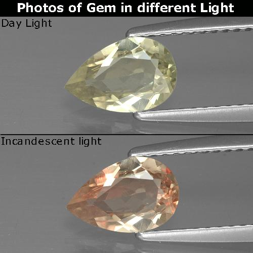 Green to Pink Color-Change Diaspore Gem - 0.9ct Pear Facet (ID: 388907)