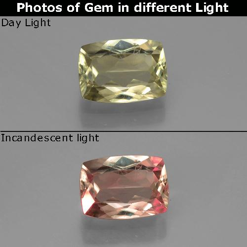 Green to Pink Color-Change Diaspore Gem - 1ct Cushion-Cut (ID: 388993)