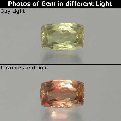 Green to Pink Color-Change Diaspore Gem - 1.2ct Cushion-Cut (ID: 389052)