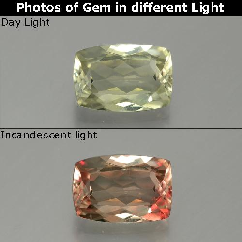 Green to Pink Color-Change Diaspore Gem - 1.1ct Cushion-Cut (ID: 389055)