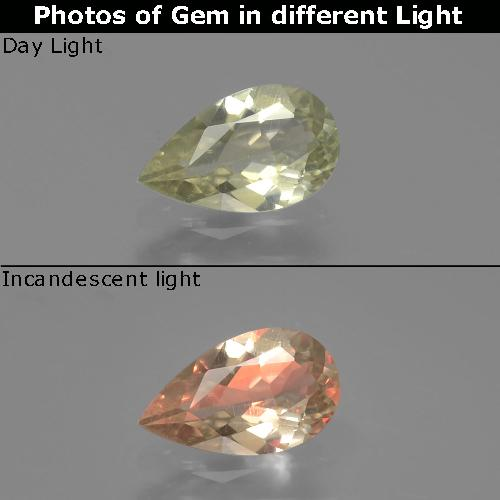 Green to Pink Color-Change Diaspore Gem - 0.8ct Pear Facet (ID: 389252)