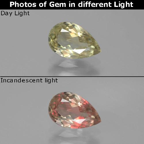 Green to Pink Color-Change Diaspore Gem - 0.9ct Pear Facet (ID: 389351)