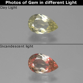Green to Pink Color-Change Diaspore Gem - 0.8ct Pear Facet (ID: 389352)