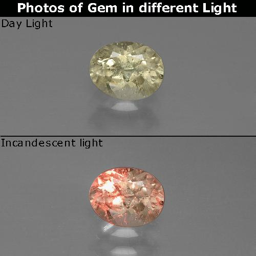 Green to Pink Color-Change Diaspore Gem - 0.7ct Oval Facet (ID: 389409)