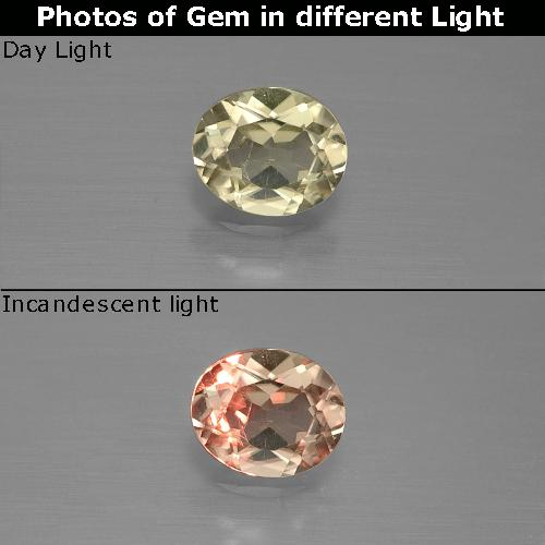 Green to Pink Color-Change Diaspore Gem - 0.6ct Oval Facet (ID: 389410)