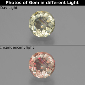 Green to Pink Color-Change Diaspore Gem - 0.7ct Round Facet (ID: 389858)