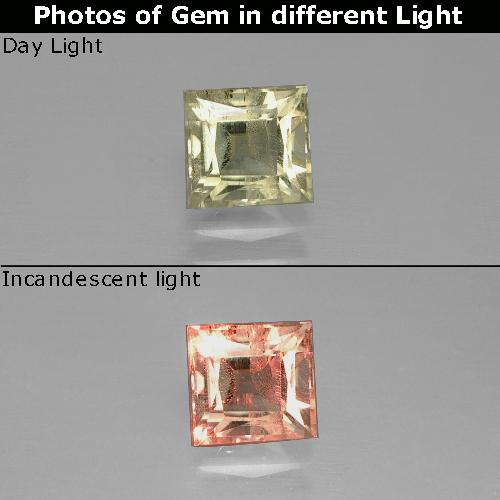 Green to Pink Color-Change Diaspore Gem - 1.1ct Princess-Cut (ID: 389896)