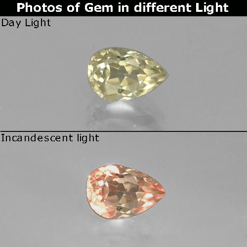 Medium Yellow Color-Change Diaspore Gem - 0.8ct Pear Facet (ID: 389928)