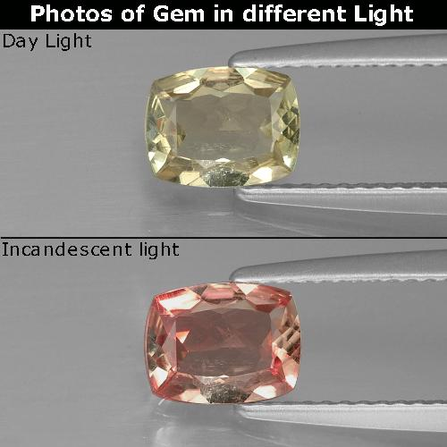 Green to Pink Color-Change Diaspore Gem - 0.9ct Cushion-Cut (ID: 389934)