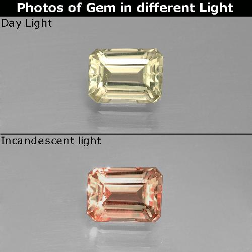 Green to Pink Color-Change Diaspore Gem - 0.8ct Octagon Facet (ID: 389975)