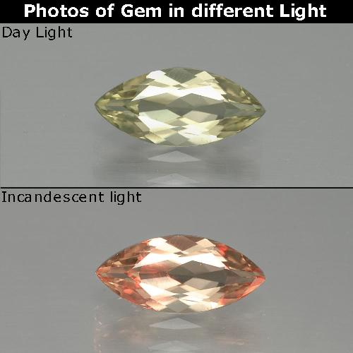 Very Light Yellow Color-Change Diaspore Gem - 1.1ct Marquise Facet (ID: 390120)