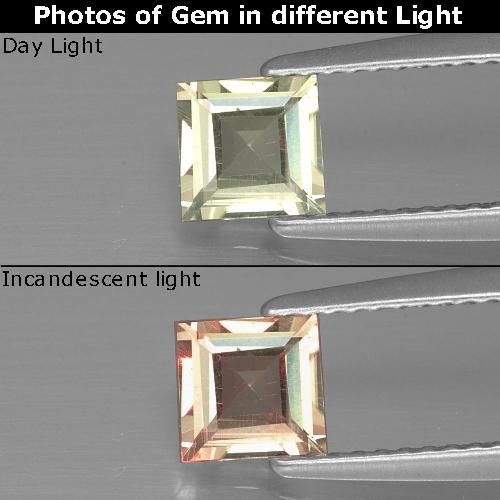 Green to Pink Color-Change Diaspore Gem - 0.6ct Square Facet (ID: 390149)