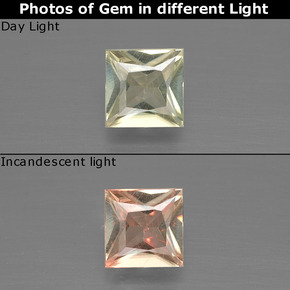 Green to Pink Color-Change Diaspore Gem - 0.5ct Princess-Cut (ID: 390156)