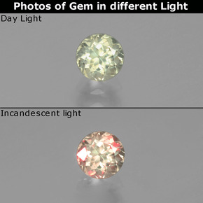 Green to Pink Color-Change Diaspore Gem - 0.6ct Round Facet (ID: 390198)