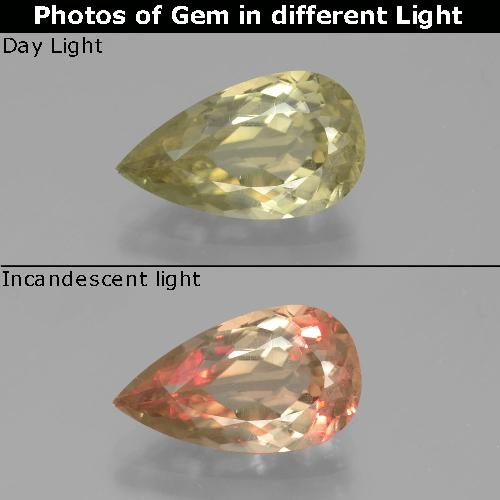 Very Pale Yellow Color-Change Diaspore Gem - 3.3ct Pear Facet (ID: 390227)