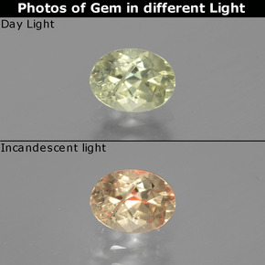 Green to Pink Color-Change Diaspore Gem - 0.9ct Oval Facet (ID: 390709)