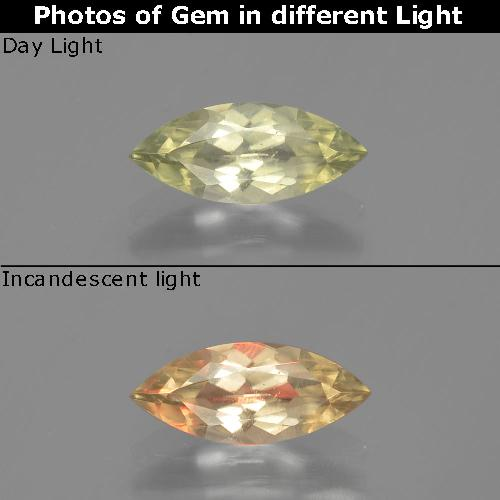 Green to Pink Color-Change Diaspore Gem - 1ct Marquise Facet (ID: 391622)